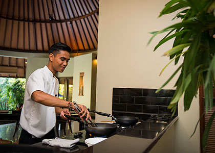 Breakfast being prepared in your villa